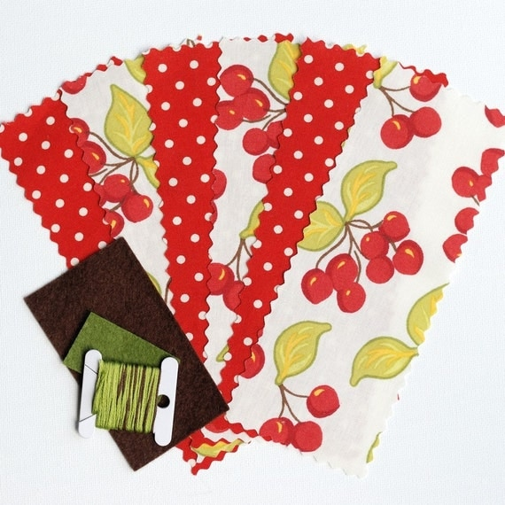 Pear or Apple Pincushion Sewing Kit Red Cherries and Polka Dots