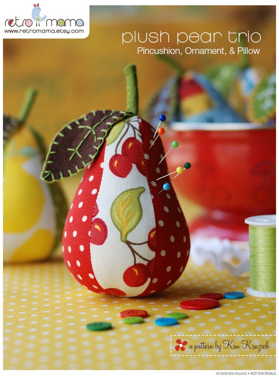 items similar to sewing pattern pear pincushion