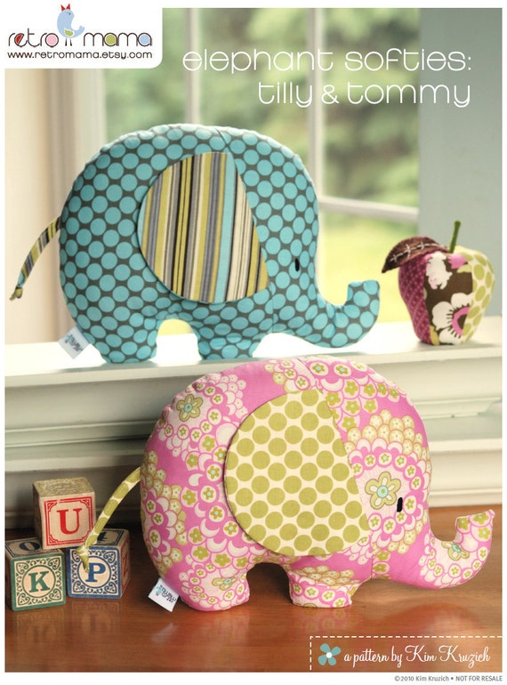 Elephant Softies PDF Sewing Pattern
