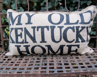 Burlap Pillow -  My Old Kentucky Home