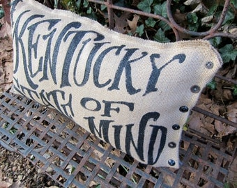 Kentucky State Of Mind Burlap Pillow