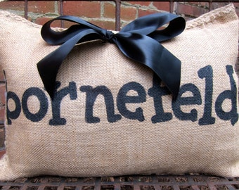 Family Name Burlap Pillow