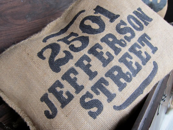 Burlap Charley Pillow - Put your Custom Address here