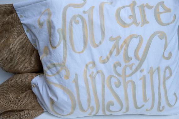 You Are My Sunshine Burlap Ruffle Pillow