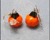 Pumpkin Earrings Sterling Silver, Halloween Jewelry