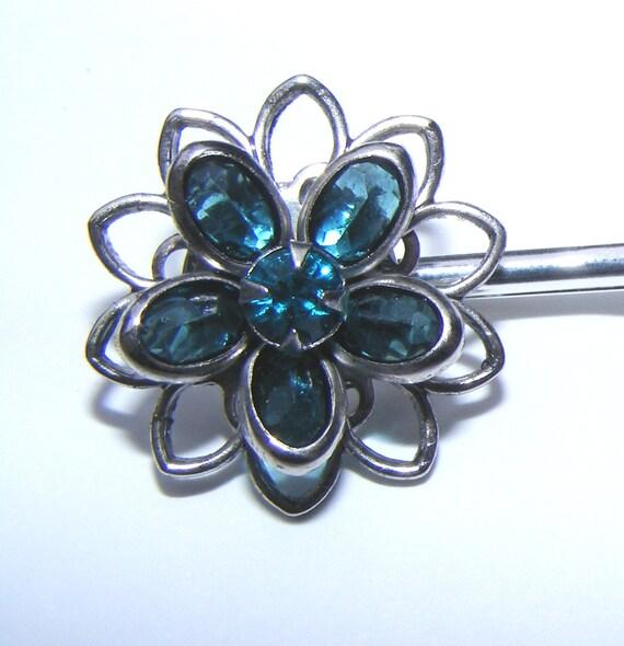 Beautiful Blue Swarovski Hair Clip \/ Bobby Pin LAST ONE