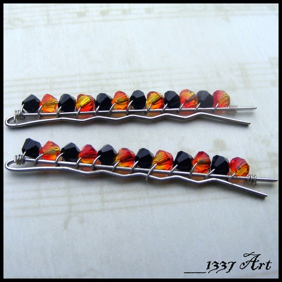 Beaded Bobby Pins with Wire Wrapped Swarovski Crystals in Jet and Fire Opal