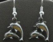 Pewter Dolphin Earrings