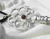 Key Necklace - recycled sterling silver and garnets