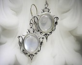 Art Nouveau Style Moonstone Earrings in Recycled Sterling Silver