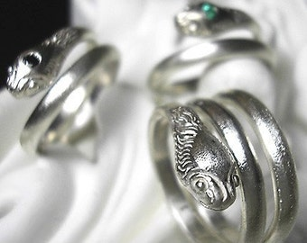 Serpent ring - 3 coils in RECYCLED sterling silver