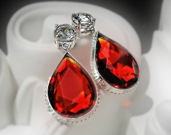 Vintage Sunset Orange Crystal Earrings