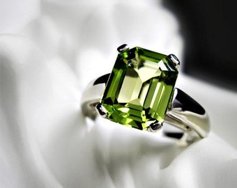 Emerald Cut Peridot Ring
