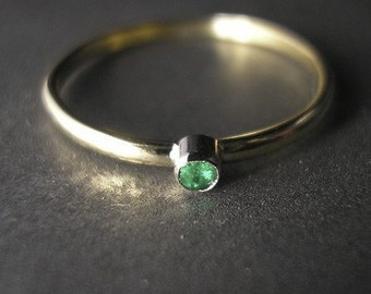 Stackable Emerald 14K Gold Ring