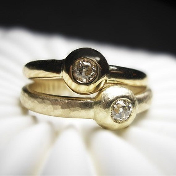 Evening Star -diamond ring 14k recycled gold