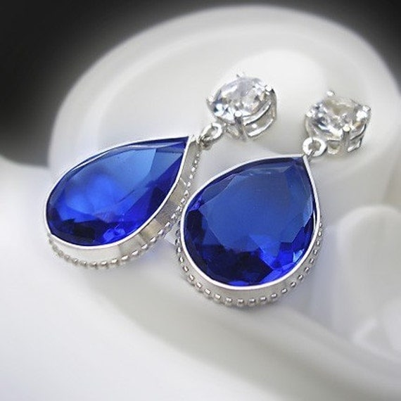 Vintage Sapphire Glass and Crystal Earrings