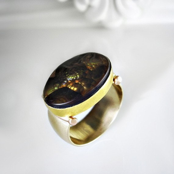 Fire Agate Cabochon Ring - Size 8 Custom made. RESERVED