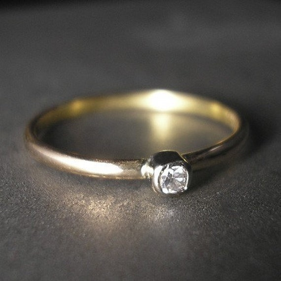 Stackable -diamond ring 18k gold