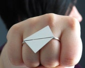First Crush ring No.2 - modern double finger geometric knuckle duster ring