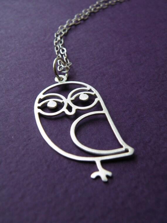 Sweet Owl - sterling silver bird pendant