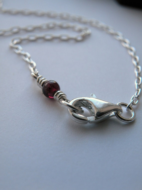 Chain, chain, chain - 16 inches sterling silver chain and red bead of garnet