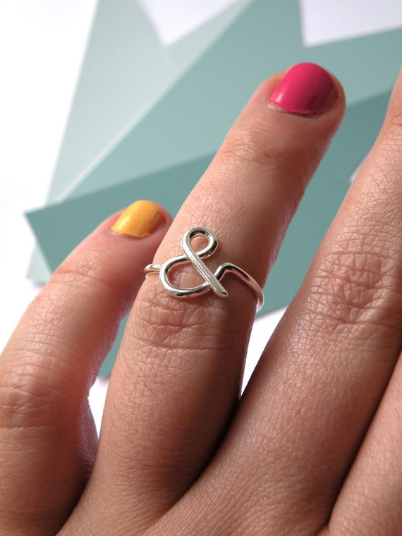Ampersand ring in sterling silver - gift for her / engagement ring / gift for bff / gift for sister  / nickel free ring monogram ring
