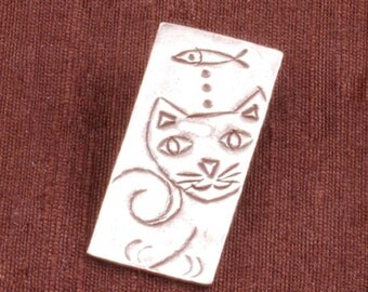 Sterling Silver Thai Cat Dreaming of Fish Pendant