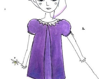 PDF Sewing Patterns for Girls - Felicity's Formal Frock A-line dress with puffed sleeves and back zipper (Christmas Dress) MULTI SIZES