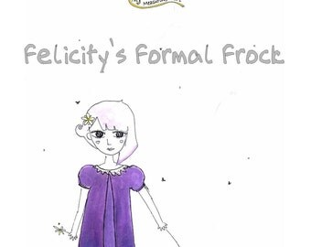 Paper Sewing Patterns for Girls - Felicity's Formal Frock A-line dress with puffed sleeves and back zipper (MULTI SIZES)