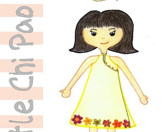 Paper Sewing Patterns for Girls - Little Chi Pao Wrap Dress with mandarin collar in MULTI SIZES (Festive)