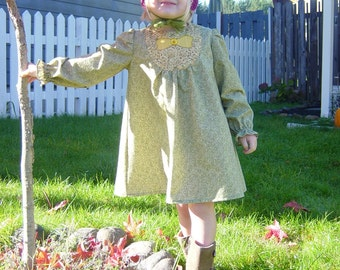 Size 3 toddler dress made from reclaimed materials/ long sleeve child dress/ olive green and gold/ hand appliqued/ ECO wear