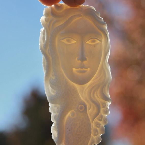 Carved Bone Pendant Octopus Sea Goddess Sale