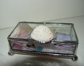 SALE--------Cute Stained Glass Jewelry Box with Shell Handle