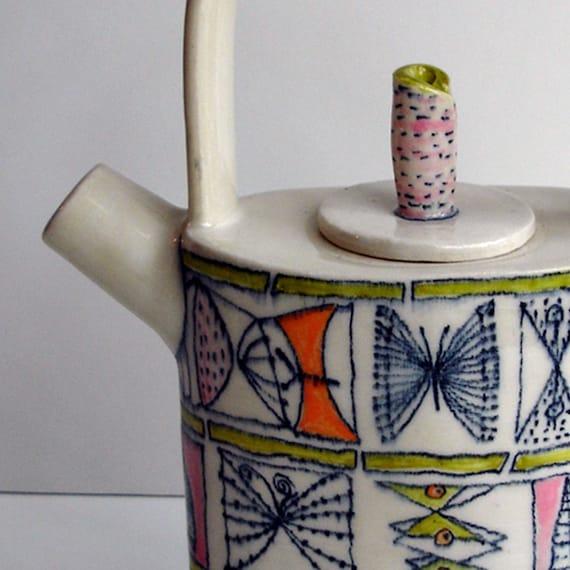 retro butterfly pattern teapot