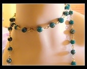 Deep Teal Green Spatter Bead Necklace Diamond Cut Chain
