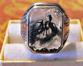 Art Nouveau Sterling Moss Agate Mens Ring