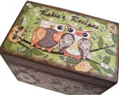 Recipe Box, Wood Recipe Box, Decoupaged Recipe Box, Owl Bird Box, Wedding Recipe Box, Bridal Shower Box, Holds 4x6 Cards, MADE TO ORDER