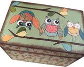 Recipe Box, Decoupaged Wedding Recipe Box, Guest Book Alternative, Holds 4x6 Cards, Storage Organization Box, Owl Box MADE To ORDER