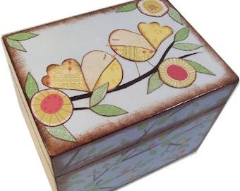 Tea Box, Tea Storage Box, Tea Bag Storage Box, Wooden Decoupaged Tea Box, Decorative Tea Box, Kitchen Box, Kitchen Organizer, MADE TO ORDER