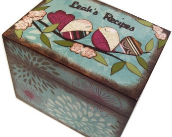 Personalized Recipe Box, Decoupage Wood Recipe Box, Couples Gift, Gift for Her, Decorative Storage Organizer, Holds 3x5 Cards, MADE TO ORDER