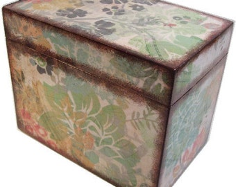Recipe Box, Wood Recipe Box, Decoupaged Recipe Box,  Asian Recipe Box, Wedding Recipe Box, Bridal Shower Box, Holds 4x6 Cards, MADE TO ORDER
