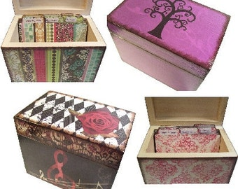 Recipe Box, Wood Recipe Box, Handcrafted Recipe Box and Tab Divider SET, Holds 4x6 Cards, Kitchen Storage Organization, MADE To ORDER