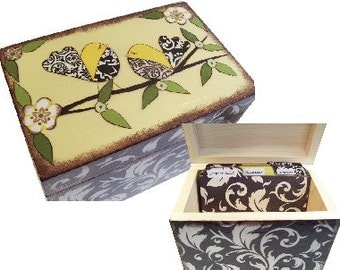 Wedding Guest Book Box Alternative, Decoupaged, Wedding Box Set with (9) ABC Tab Dividers Large, Couples Gift, Bridal Shower, MADE To ORDER