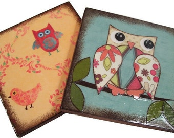 Coasters  Set of (2) Original Designs Owls and Flowers Coasters Handcrafted Wooden Drink Coasters MADE TO ORDER By Gifts And Talents