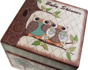 Keepsake, Treasure, Trinket Storage and Organization Box For Baby or Child, Owl Bird Decor, Custom Designs, Decorative Box, MADE TO ORDER