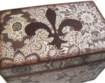 Recipe Box, Wood Recipe Box, Decoupaged Recipe Box, Fleur De Lis Box, Wedding Recipe Box, Bridal Shower Box, Holds 4x6 Cards, MADE TO ORDER