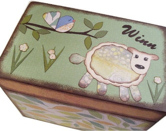 Keepsake Trinket  Treasure Decorative Decoupaged Box  Sheep - Lamb and Other Fun Designs Gift for Baby -  Child Storage MADE TO ORDER
