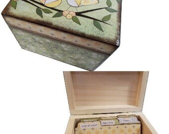Recipe Box,Tab Dividers SET Decoupage Handcrafted Box, Large, Owl Bird Decor, Kitchen Organizer, Recipe Holder, Storage, MADE To ORDER