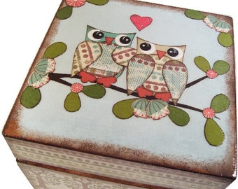 Keepsake, Treasure, Trinket, Box, Baby Shower Gift, Owl,  Bird Decor, Baptism Gift, Decorative Box, Storage, Organization, MADE TO ORDER