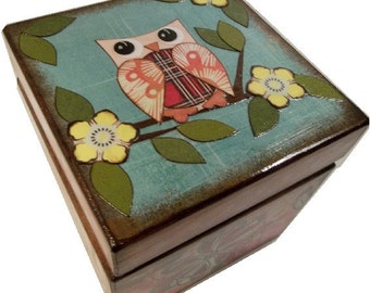 Keepsake Box, Treasure Box, Trinket Box, Decoupaged, Handcrafted Wood Box, Owls and Other Designs, Storage Organization, MADE TO ORDER